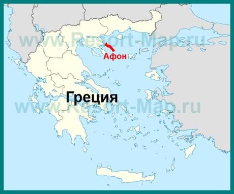 Гора Афон на карте Греции