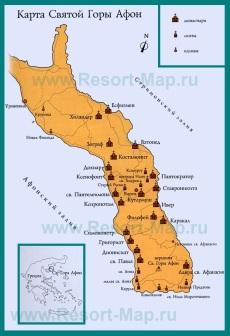 Карта горы Афон на русском языке с монастырями