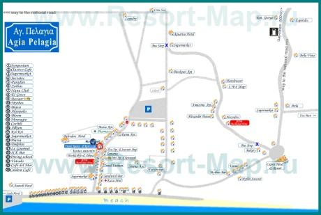 Туристическая карта Агия Пелагия с отелями