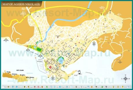 Подробная карта города Агиос Николаос