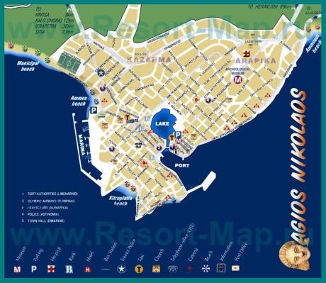 Туристическая карта Агиос Николаос с отелями