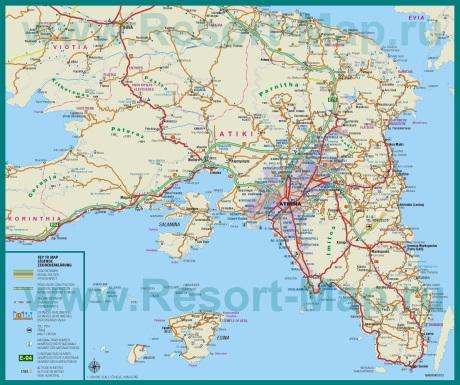 Подробная карта региона Аттика