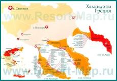 Карта отелей Халкидики