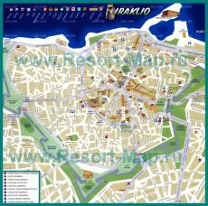 Карта Ираклиона с отелями
