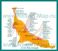 Карта отелей Кассандры