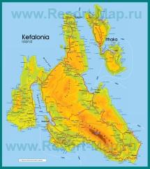 Подробная карта острова Кефалония