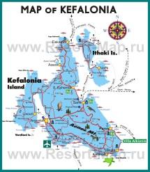 Туристическая карта Кефалонии с достопримечательностями