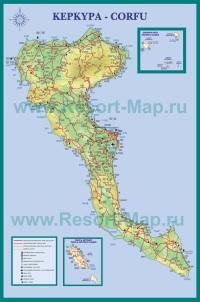 Туристическая карта острова Корфу