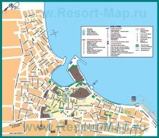 Карта города Кос с достопримечательностями