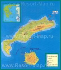 Карта острова Кос с отелями и достопримечательностями