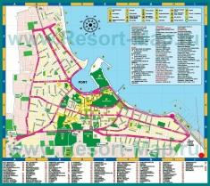 Туристическая карта города Кос с отелями