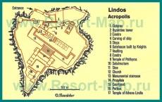 Карта акрополя города Линдос с достопримечательностями