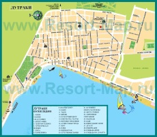 Туристическая карта Лутраки с достопримечательностями