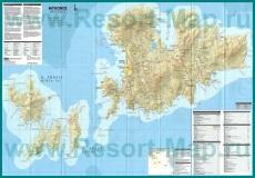 Подробная карта острова Миконос