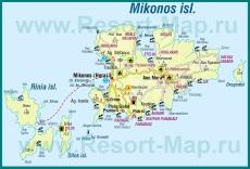 Туристическая карта острова Миконос