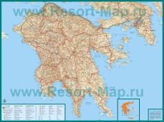 Подробная карта Пелопоннеса