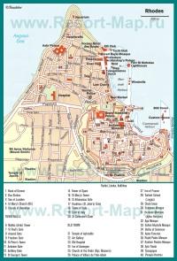 Карта города Родос с достопримечательностями