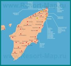 Карта отелей острова Родос на русском языке
