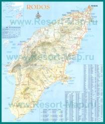Подробная карта Родоса с отелями