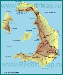 Физическая карта Санторини
