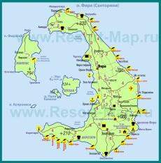 Карта острова Санторини на русском языке