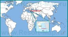 Санторини на карте мира и Греции