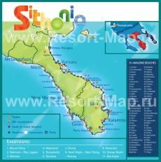 Подробная карта Ситонии с пляжами