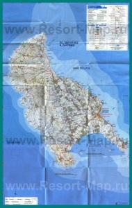 Карта острова Закинф с достопримечательностями