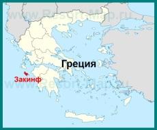 Остров Закинф на карте Греции