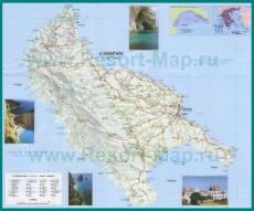 Подробная карта острова Закинф