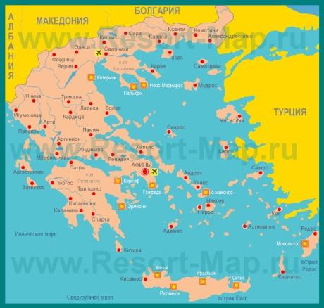 Курорты Греции на карте