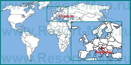 Хорватия на карте Европы и мира