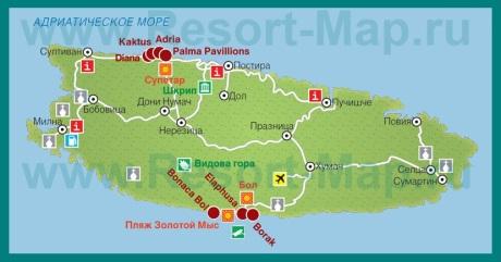 Карта отелей Брача