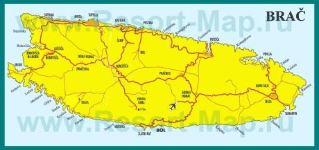 Подробная карта острова Брач