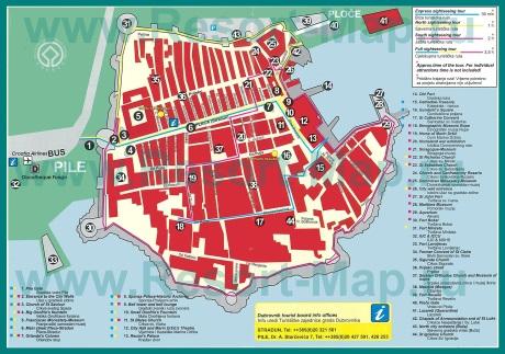 Карта Дубровника с достопримечательностями