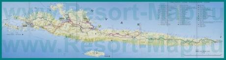 Подробная карта острова Хвар с отелями
