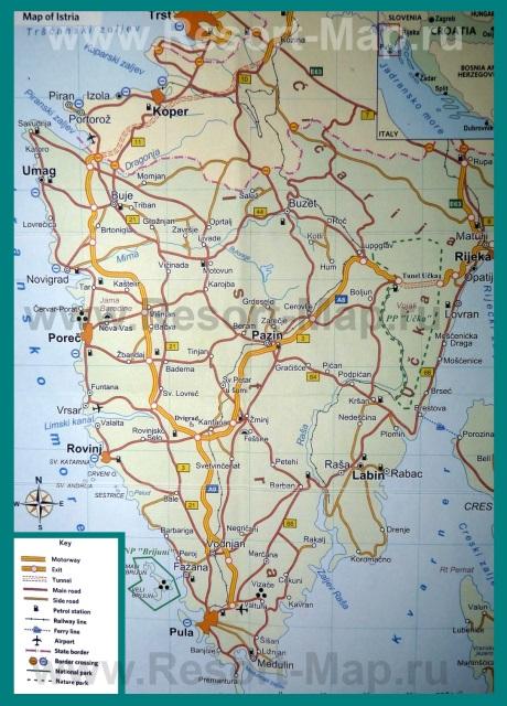 Туристическая карта полуострова �стрия