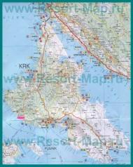 Подробная карта острова Крк