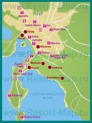 Карта отелей Медулина