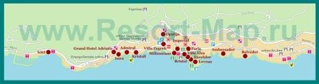 Карта отелей Опатии