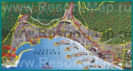 Подробная карта курорта Подгора