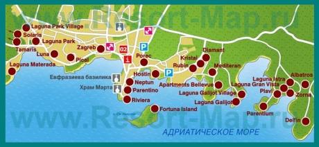 Карта отелей Пореча
