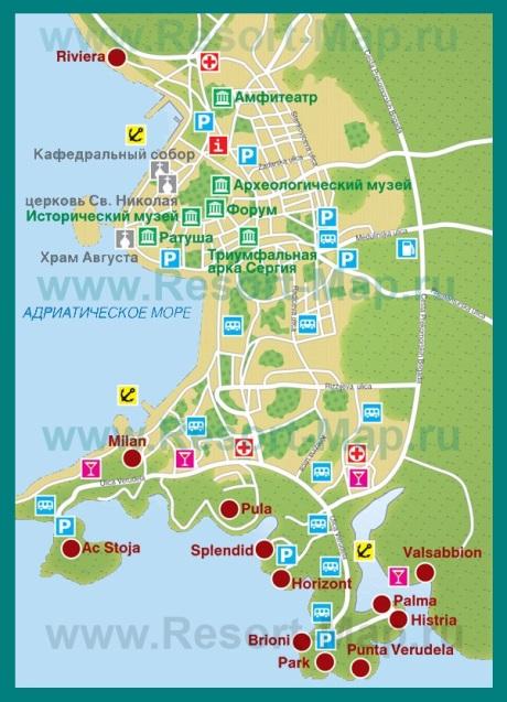 Карта отелей Пулы