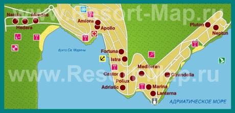 Карта отелей Рабаца