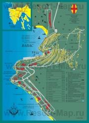 Подробная карта курорта Рабац