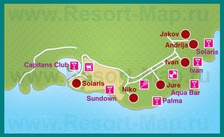 Карта отелей Шибеника