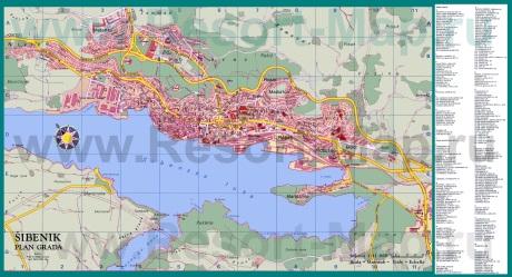 Подробная карта курорта Шибеник