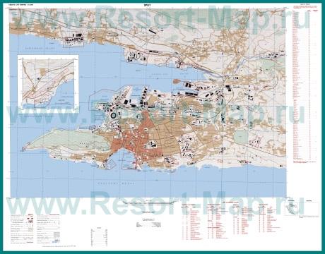 Подробная карта города Сплит