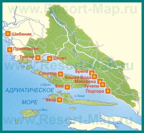 Карта курортов Средней Далмации