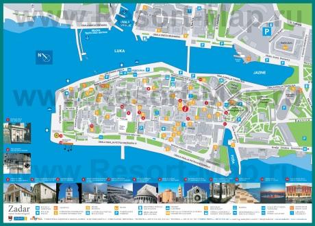 Подробная карта города Задар с отелями